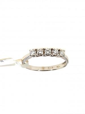 Fedina in oro bianco 750 con cinque diamanti -fed-101
