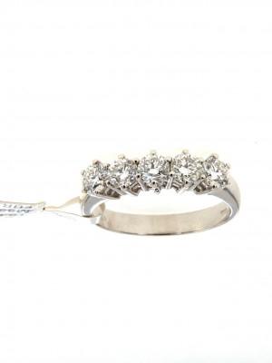 Anello fedina in oro bianco con cinque diamanti - fed-245
