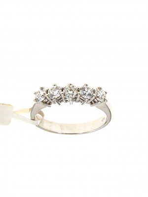 Fedina in oro bianco con cinque diamanti - fed-297