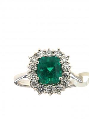 Anello in oro 750 con smeraldo ottagonale e brillanti - smer-23