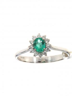 Anello con contorno diamanti e smeraldo ovale - smer-105-1