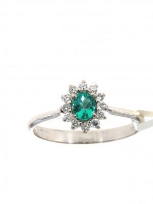 Anello con contorno diamanti e smeraldo ovale - smer-105-2