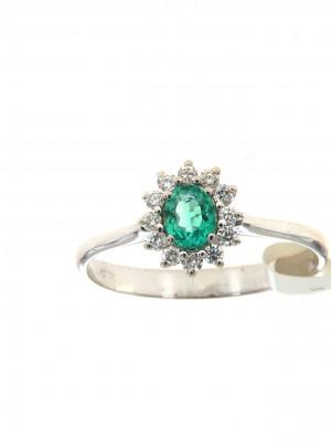 Anello con smeraldo ovale e brillanti - smer-105