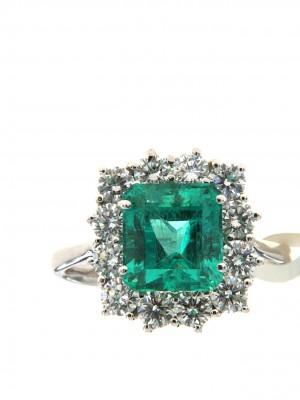 Anello di brillanti con smeraldo ottagonale - smer-124