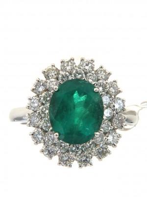 Anello con doppio contorno di brilanti e smeraldo ovale - smer-18