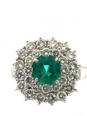 Anello in oro con smeraldo ottagonale e contorno di diamanti - smer-6