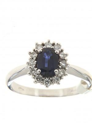 Anello in oro con zaffiro ovale e contorno di diamanti - zaf-138