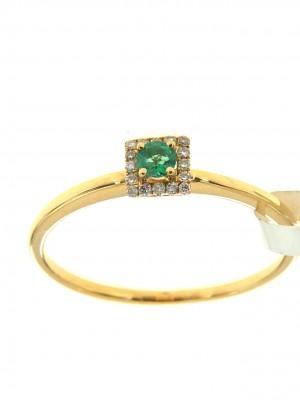 Anello fantasia in oro giallo con smeraldo e contorno di brillanti - fant-126