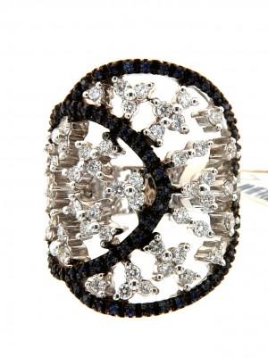 Caricato inAnello di brillanti in oro bianco 750 con zaffiri - fant-4873