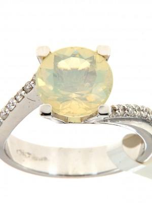 Anello solitario con opale etiope e brillanti sul gambo