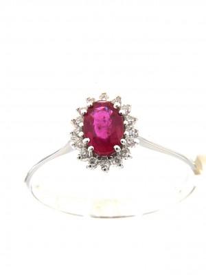 Anello classico con rubino centrale ovale e brillanti a contorno - rub-164