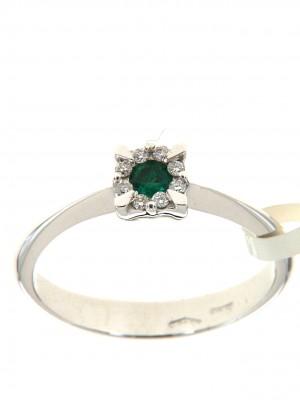 Anello di brillanti con smeraldo rotondo centrale - sm-24