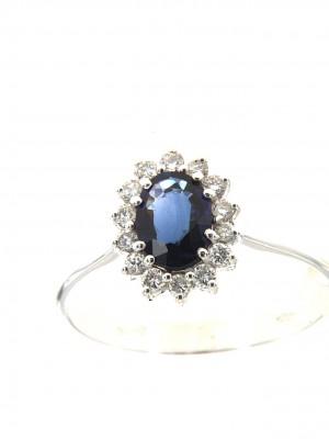 Anello di brillanti con zaffiro ovale centrale - zaf-137
