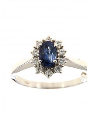 Anello con zaffiro ovale e contorno di diamanti - zaf-202