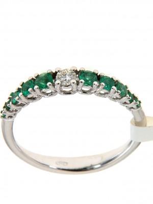 Fedina degradè con dieci smeraldi rotondi e un brillante centrale - degrade-sm