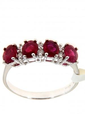 Fedina con quattro rubini a taglio ovale e sei brillanti - fed-222